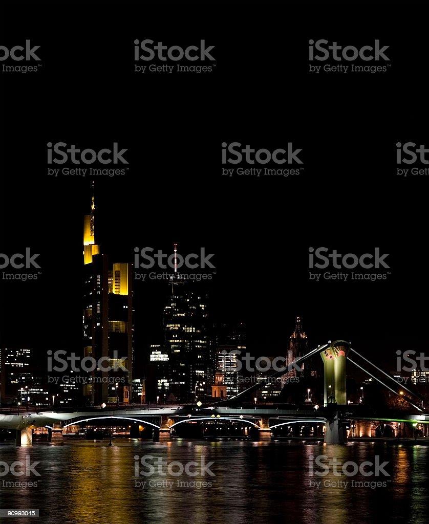 Skyline at night, Frankfurt am Main stock photo
