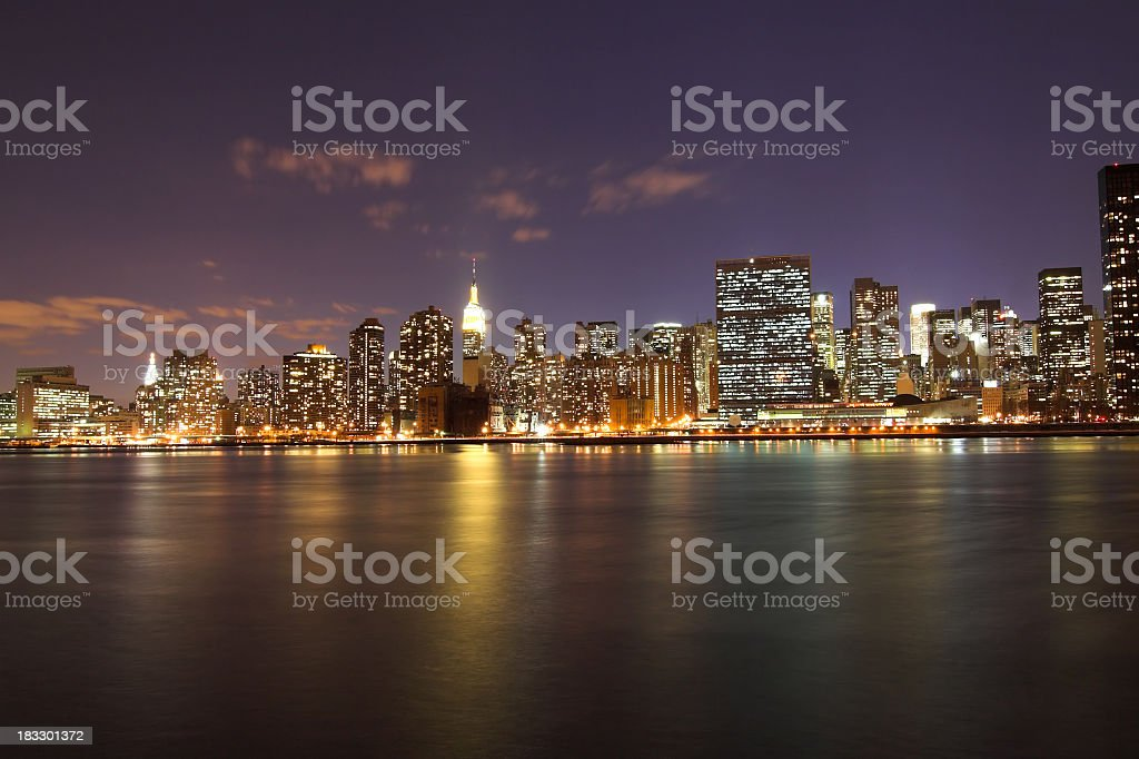 NYC Skyline at Night stock photo