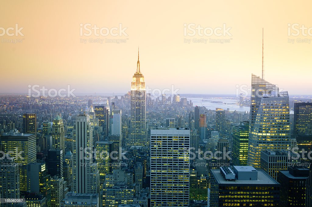 NYC Skyline at Sunset royalty-free stock photo
