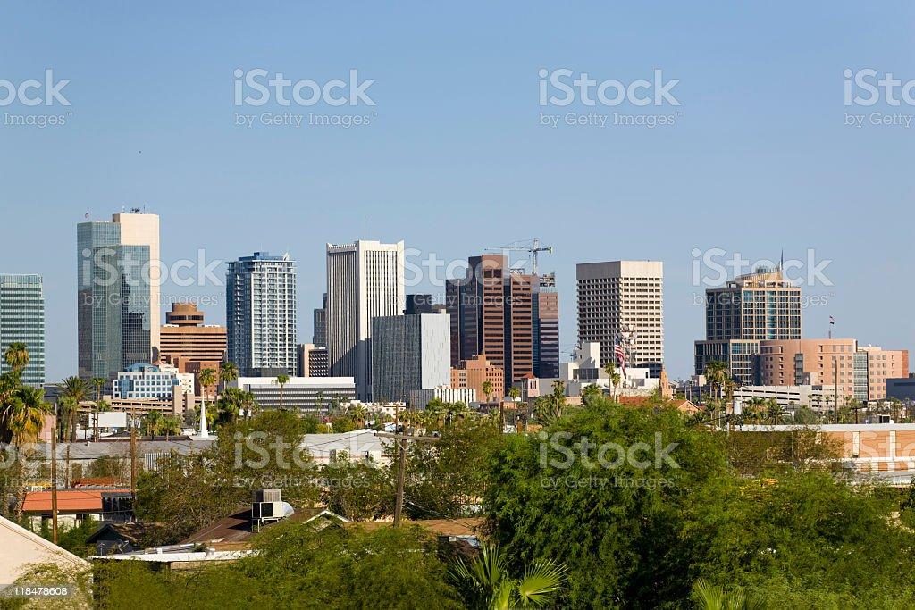 Skyline at the city of Phoenix Downtown, AZ stock photo