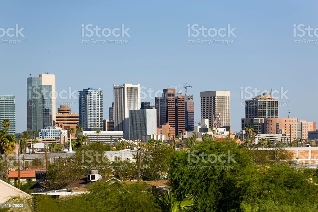 Skyline at the city of Phoenix Downtown, AZ stock photo