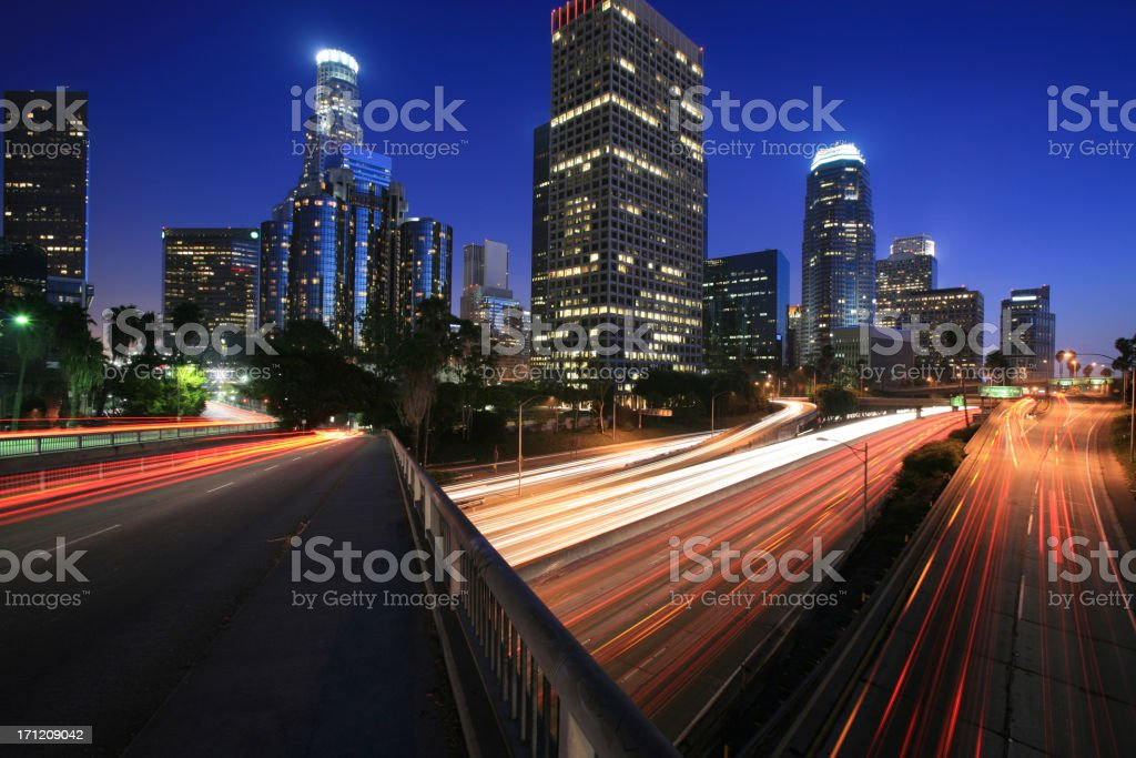LA Skyline at Twilight royalty-free stock photo
