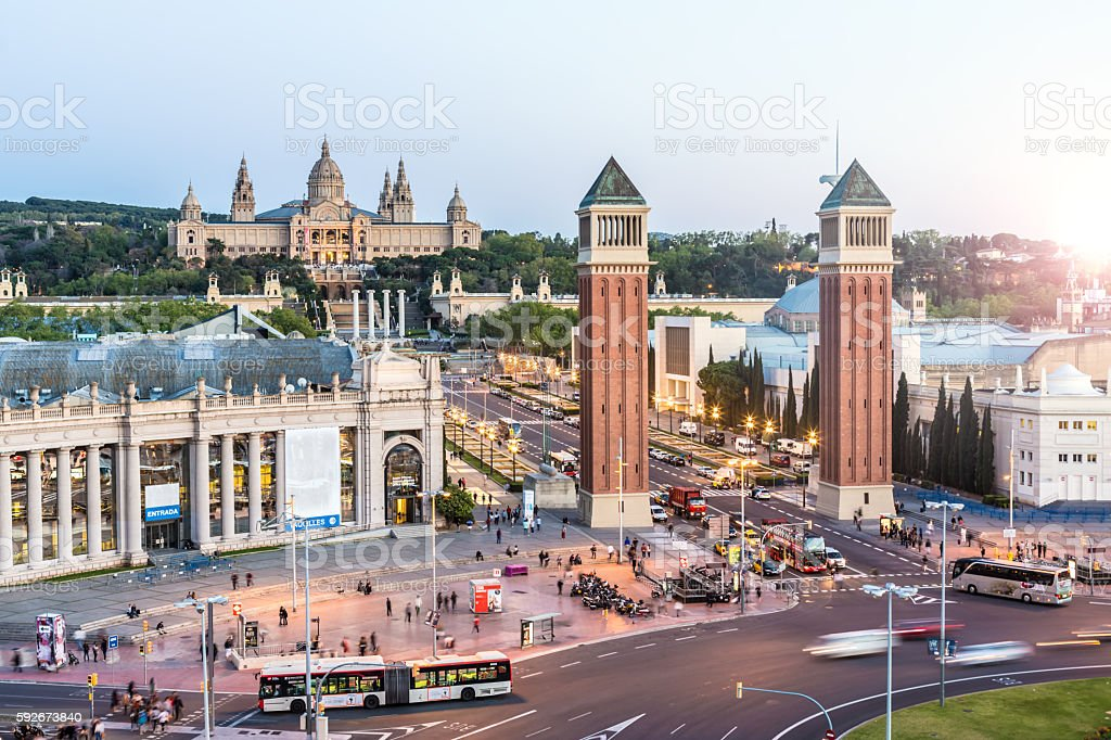 Skyline Barcelona with Placa Espanya stock photo