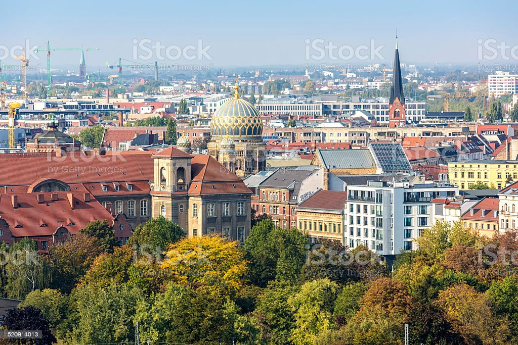 Skyline Berlin with Synagoge stock photo