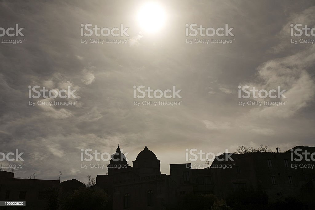 skyline black silhouette of old town Erice, Sicily, Italy royalty-free stock photo