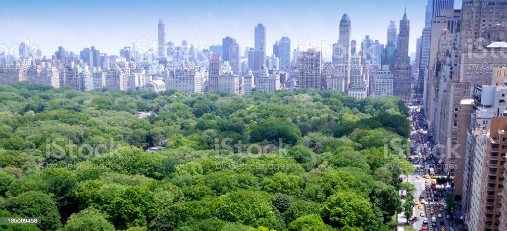NYC Skyline Central Park Aerial View stock photo