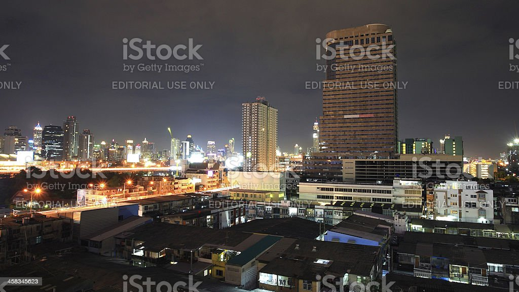Skyline cityscape view at dusk in Bangkok royalty-free stock photo