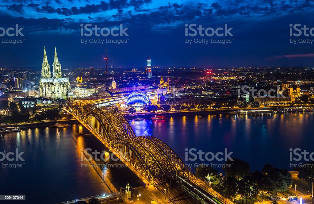 Skyline Cologne by night stock photo