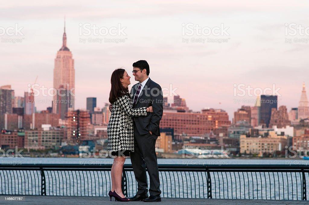 Skyline couple stock photo