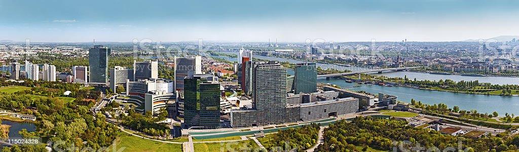 Skyline Donau City Vienna at the danube river royalty-free stock photo