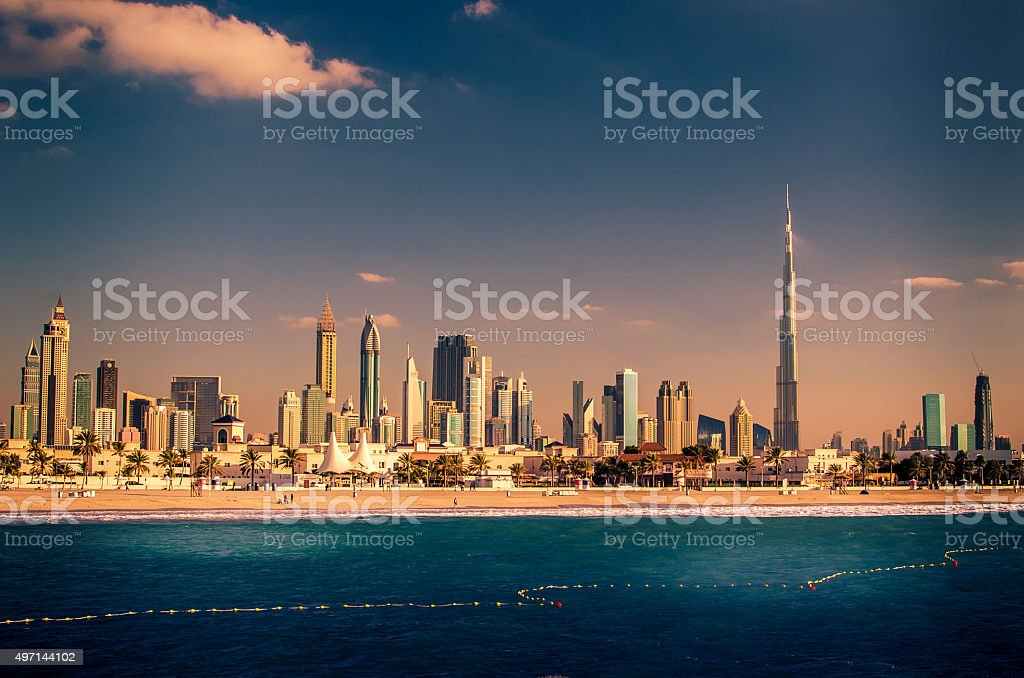Skyline Downtown in Dubai, United Arab Emirates stock photo