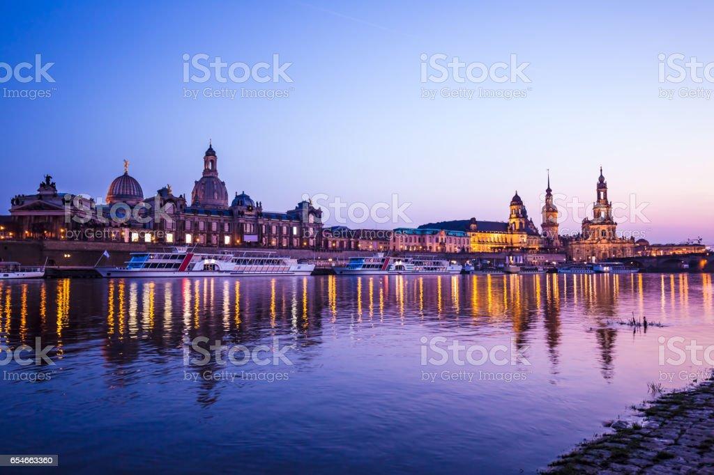 Skyline Dresden at sunset stock photo