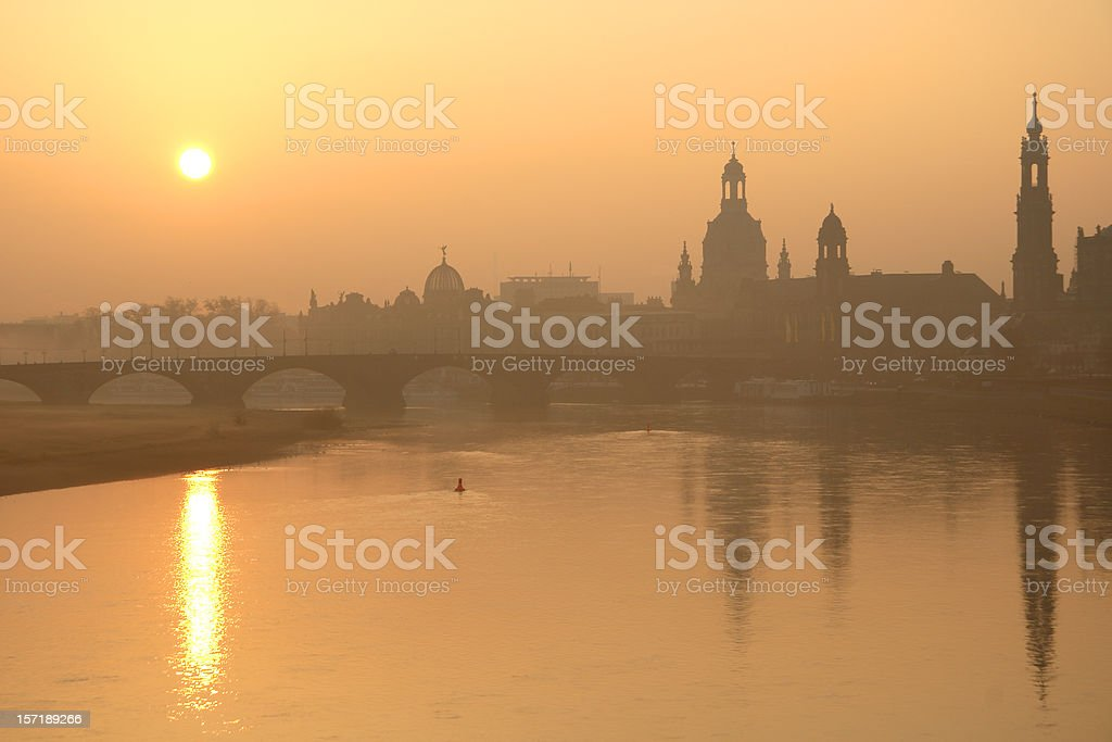Skyline Dresden with Elbe and Frauenkirche royalty-free stock photo