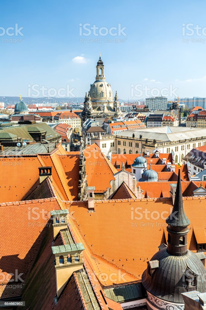 Skyline Dresden with Frauenkirche stock photo