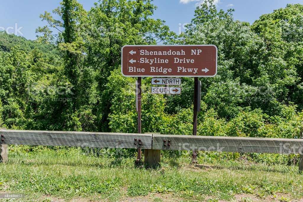 Skyline Drive and Blue Ridge Parkway Sign stock photo