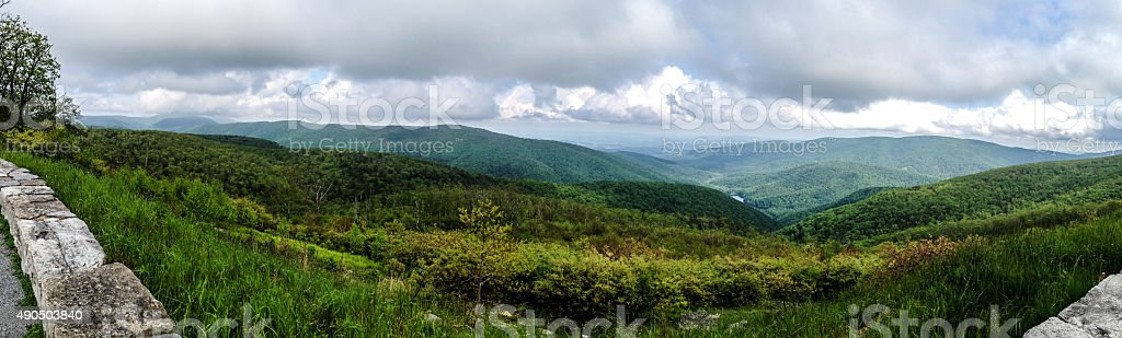 Skyline Drive Panorama of Clouds, Hills and Green Landscape stock photo