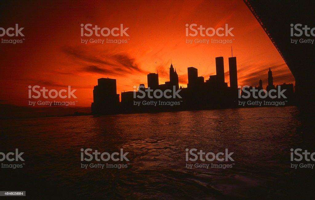 NY skyline during blackout stock photo