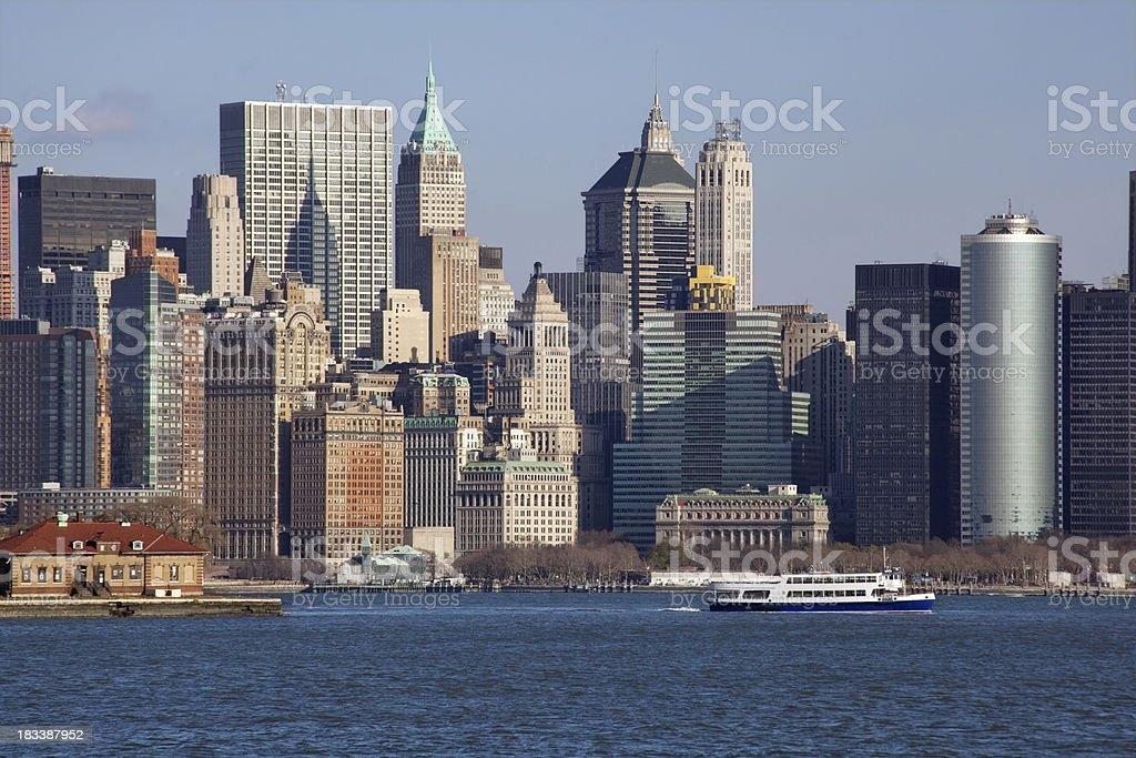 NY skyline financial district taken from NJ royalty-free stock photo