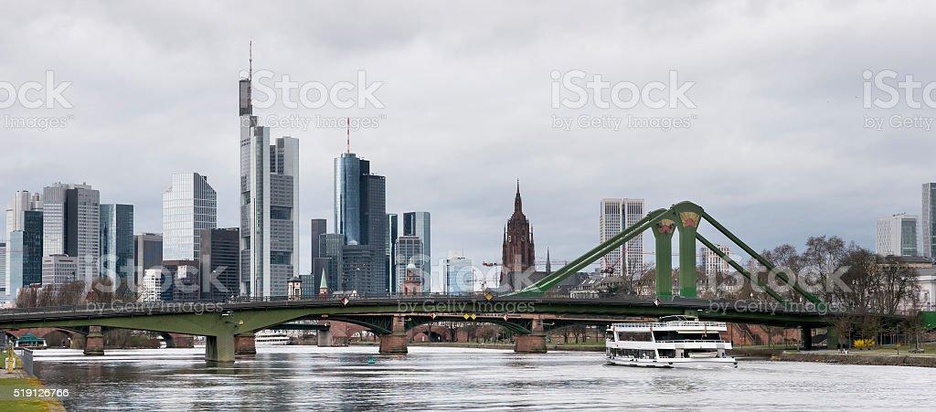 Skyline Frankfurt and River Main stock photo