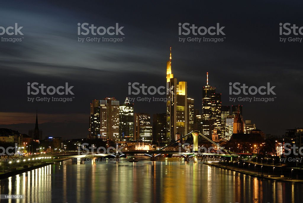 Skyline Frankfurt am Abend stock photo