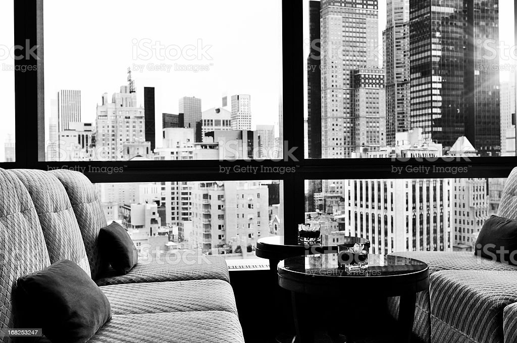 NYC Skyline from a Window Bar Lounge, NYC. Black And White. stock photo