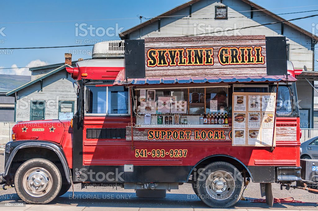 Skyline Grill Food Truck in The Dalles stock photo