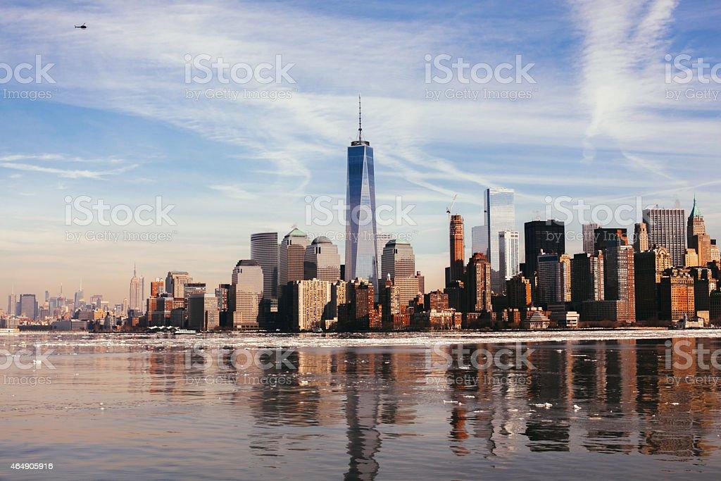 NYC Skyline. Hudson River. One World Trade Center. stock photo