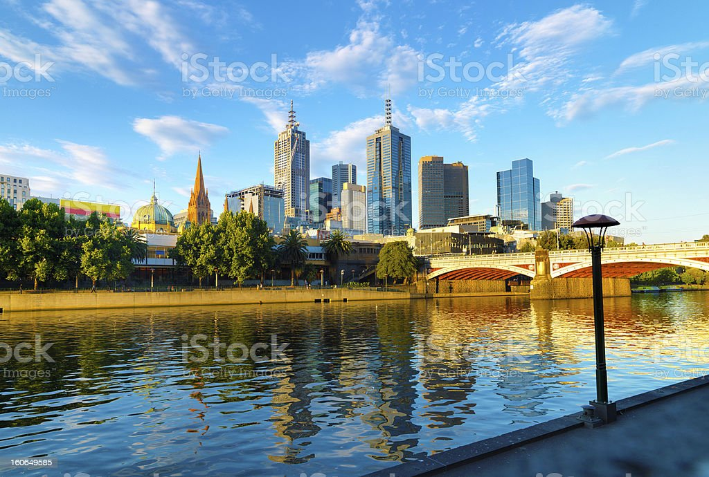 A skyline image of Melbourne with bright blue sky stock photo