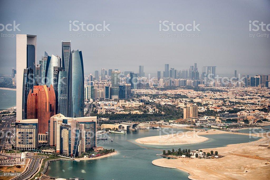 Skyline in Abu Dhabi stock photo