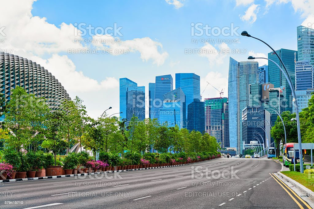 Skyline in Downtown Core at Esplanade Drive Singapore stock photo