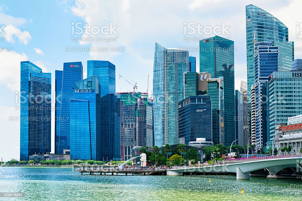 Skyline in Downtown Core at Marina Bay Financial Center Singapor stock photo