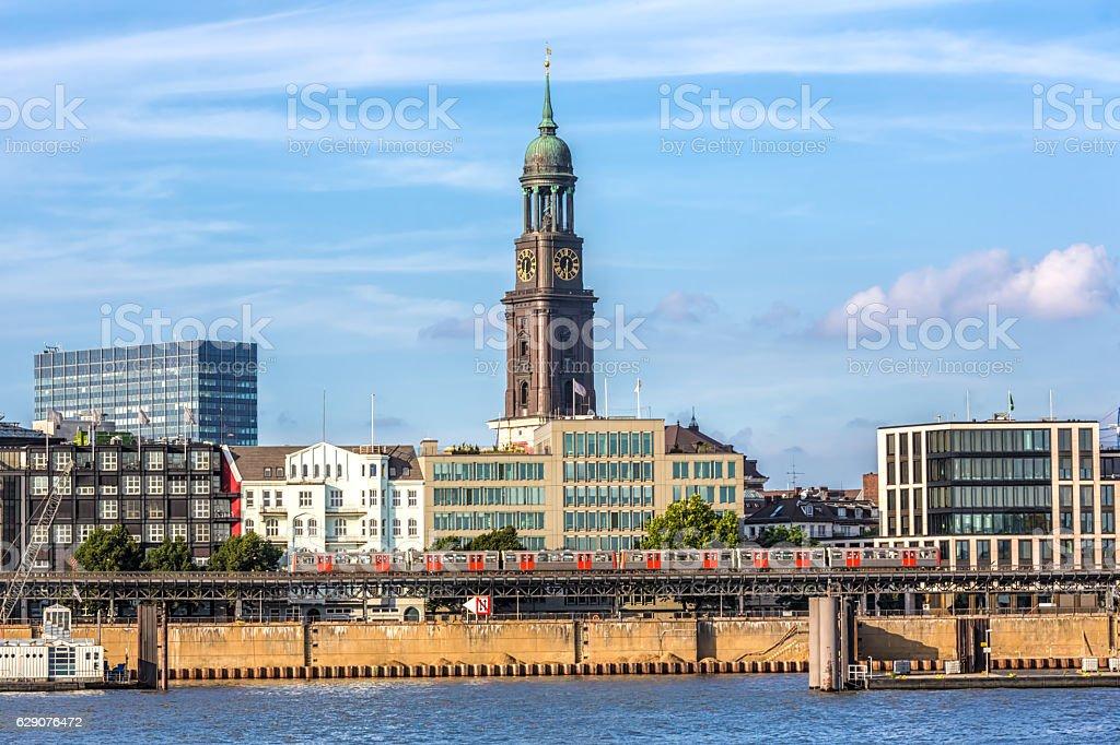Skyline in Hamburg wizh St.Michaeliskirche stock photo
