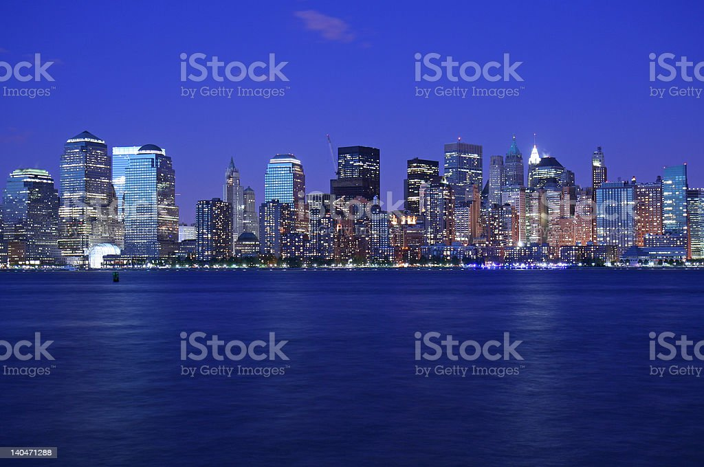 NYC skyline just after sunset royalty-free stock photo