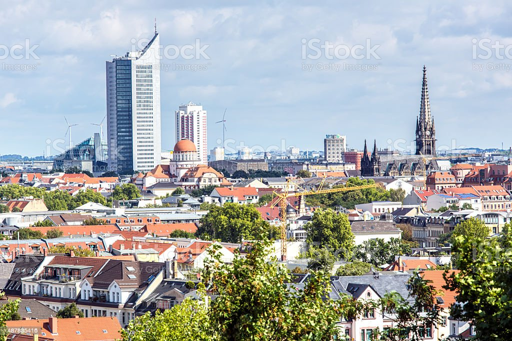 Skyline Leipzig stock photo