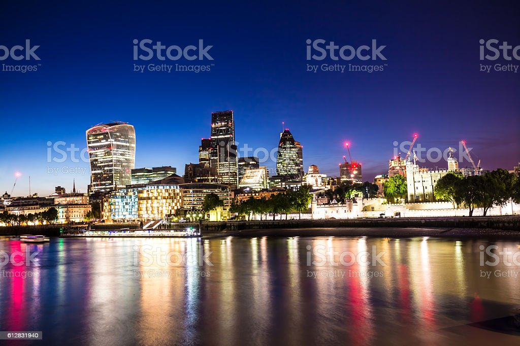 Skyline London at sunset stock photo