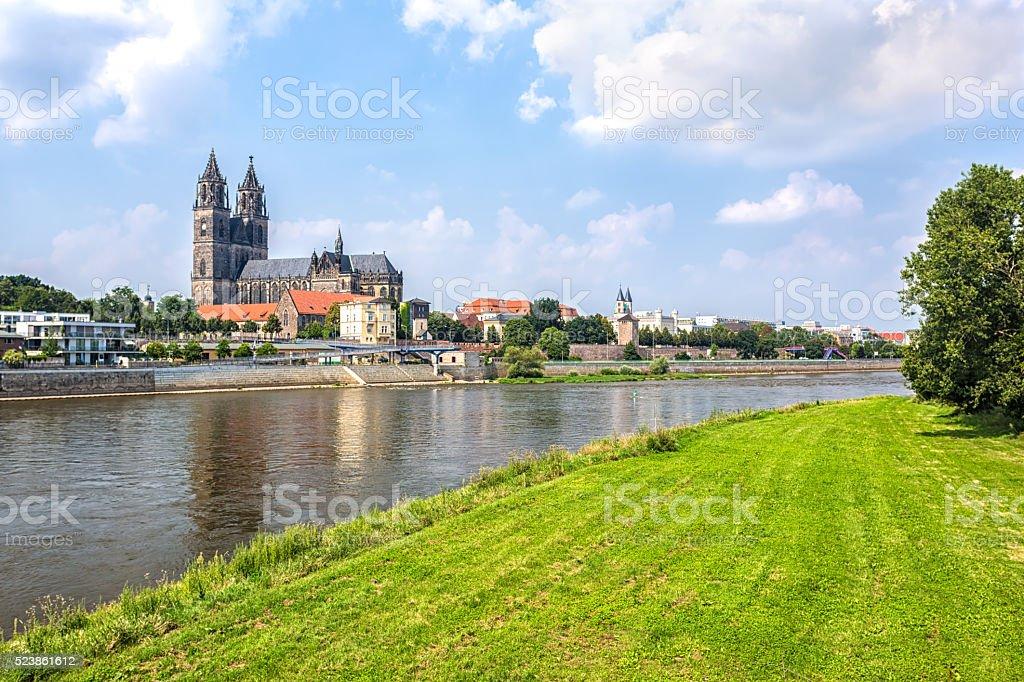 Skyline Magdeburg stock photo