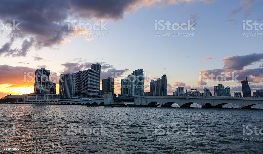 Skyline Miami Downtown at sunset Lizenzfreies stock-foto