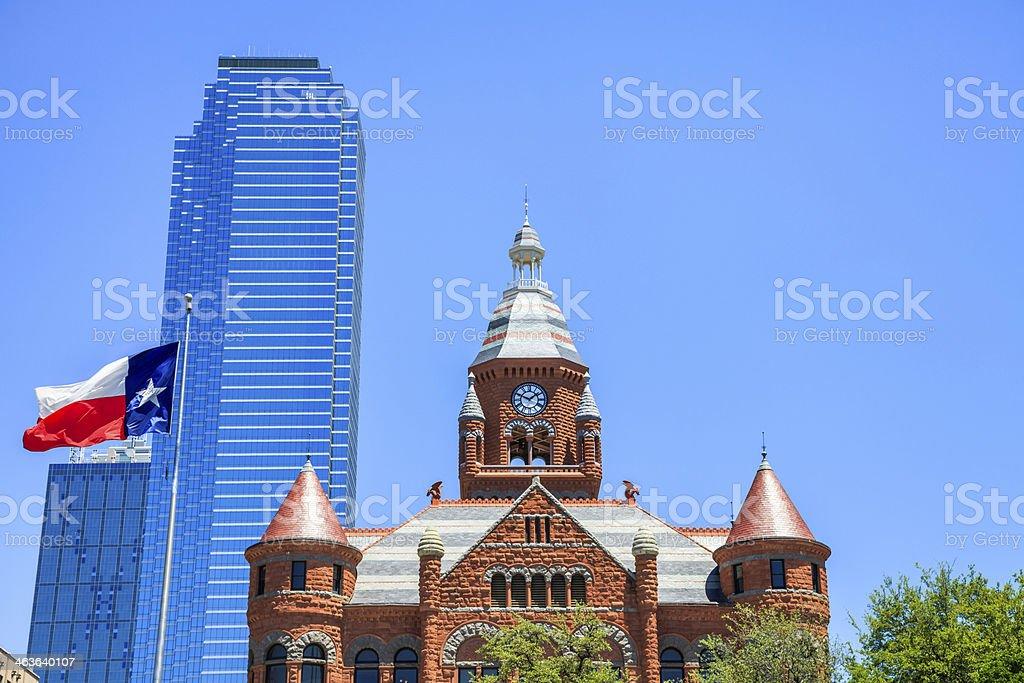 Skyline, modern skyscraper, historic Dallas County Courthouse, Texas flag stock photo