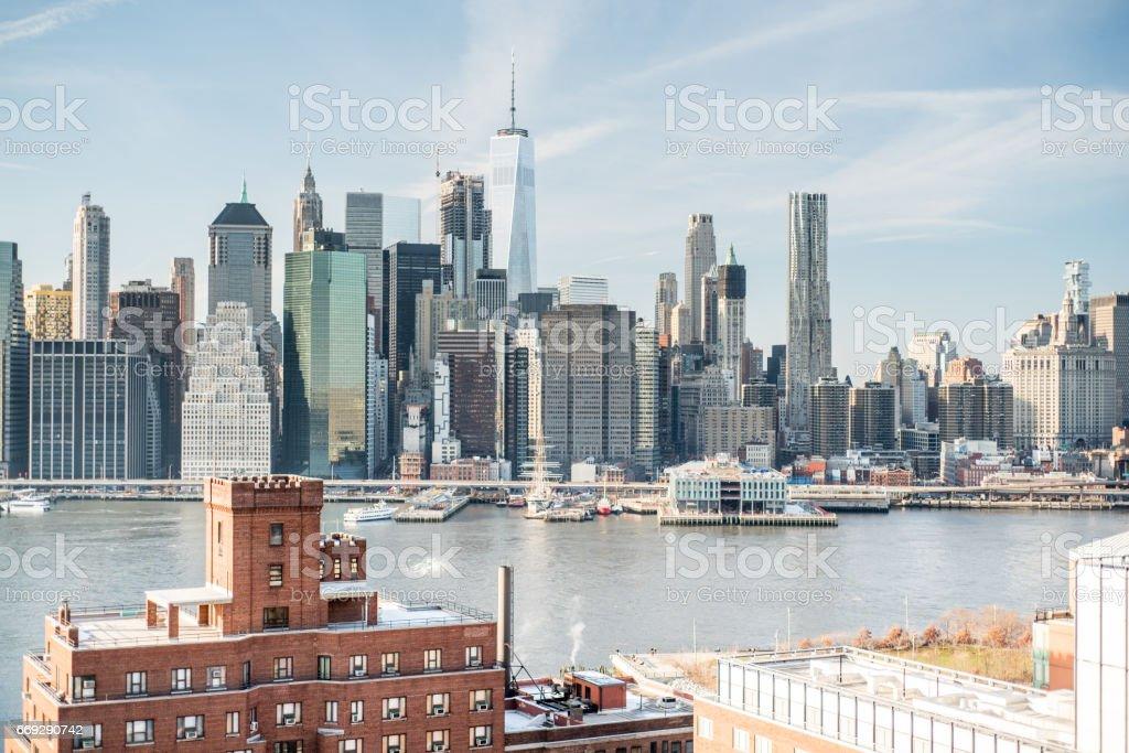 Skyline New York City Manhattan and Historic Buildings of Brooklyn Heights stock photo