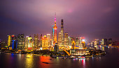 Skyline night view on Pudong New Area