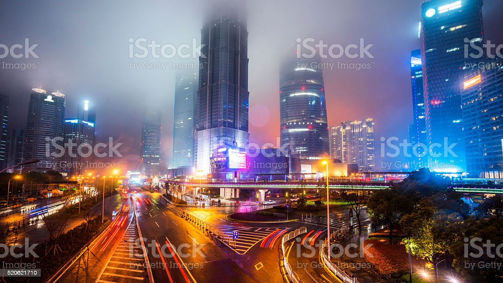 Skyline night view on Pudong New Area, Shanghai stock photo
