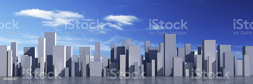 skyline of a 3d town royalty-free stock photo