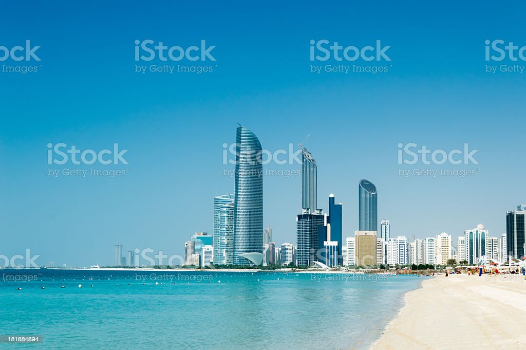 Skyline of Abu Dhabi stock photo