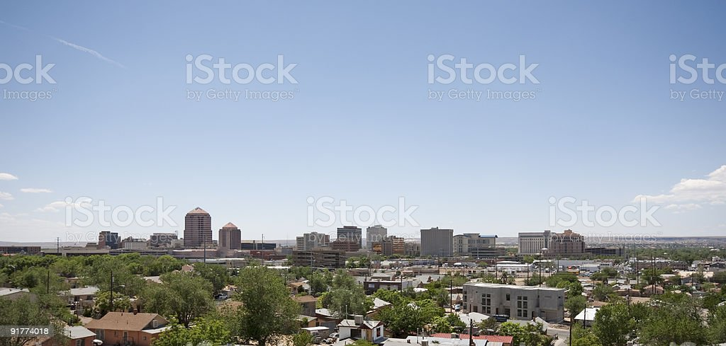 Skyline of Albuquerque in the sunlight stock photo