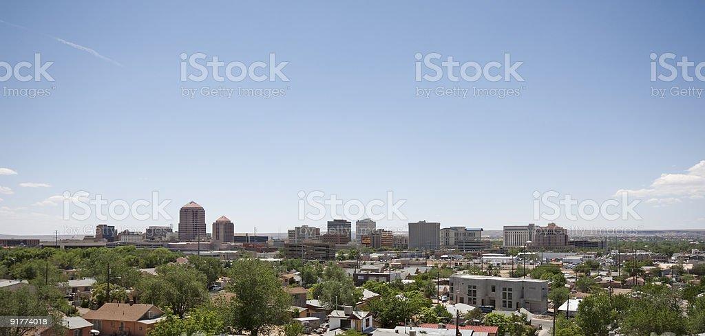 Skyline of Albuquerque in the sunlight stock photo