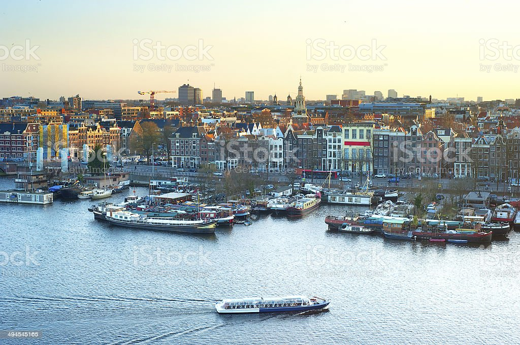 Skyline of Amsterdam stock photo