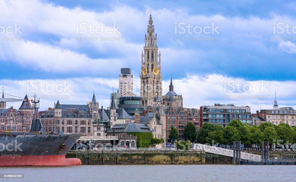 Skyline of Antwerp, Belgium stock photo