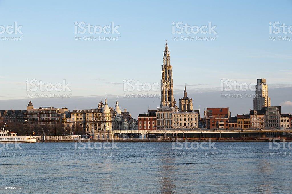 Skyline of Antwerp stock photo