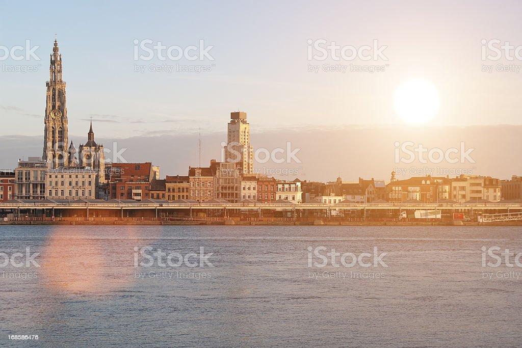 Skyline of Antwerp - Sunset stock photo