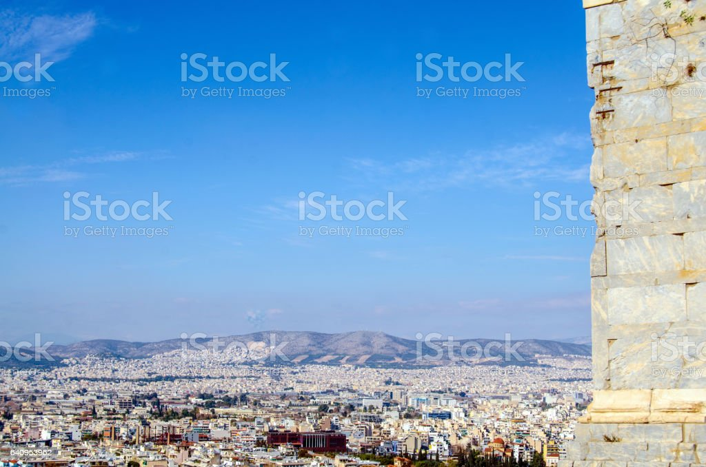 Skyline of Athens stock photo